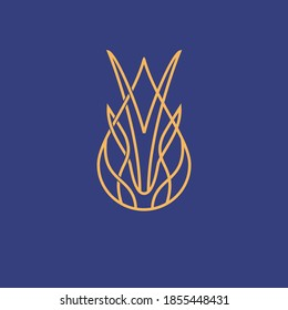 vintage thin line abstract golden gazelle water drop shape vector icon