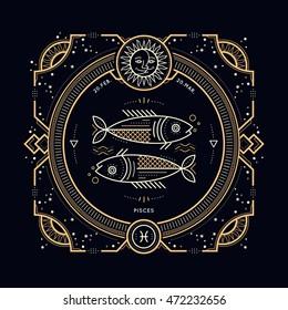 Vintage thin line Pisces zodiac sign label. Retro vector astrological symbol, mystic, sacred geometry element, emblem, logo. Stroke outline illustration.