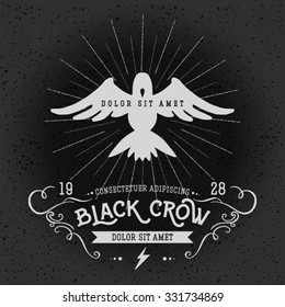 Vintage thin line raven label. Crow symbol. Retro vector design graphic element, badge, emblem, logo, insignia, sign, identity, poster. Stroke hipster illustration with typographic for t-shirt prints.