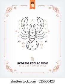 Vintage thin line Scorpio zodiac sign label. Retro vector astrological symbol, mystic, sacred geometry element, emblem, logo. Stroke outline illustration. Isolated on white background.
