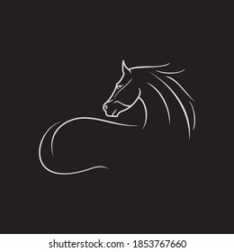 vintage thin line stallion horse clip art vector icon