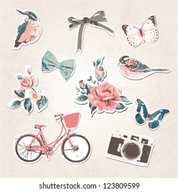vintage things set-birds,bows,flowers,bike,camera,butterflies on grunge background