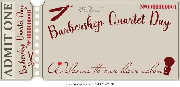 Vintage ticket invitation for Barbershop Quartet Day