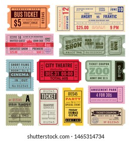 Vintage tickets. Hand ticket of circus, cinema and concert party. Old paper voucher, travelling cruise raffle coupon. Vector color isolated performance templates