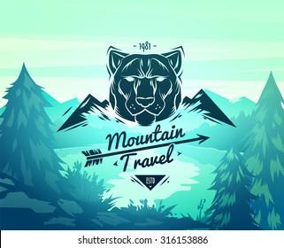 Vintage tiger labels. Retro vector design graphic element,  for your design or poster. Wood background. Hunter woods background.