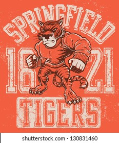 Vintage tiger mascot design complete with tiger mascot vector illustration, vintage athletic fonts and matching textures