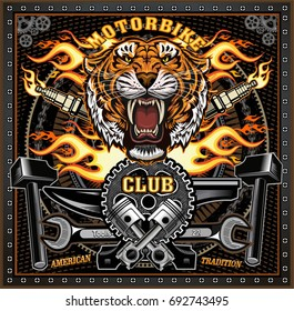 vintage tiger motorcycle label