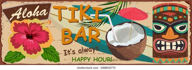 Vintage Tiki Bar metal sign.