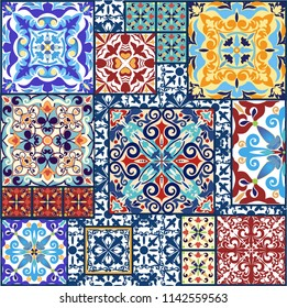 Vintage tiles for decorative design. Ceramic floor tiles. Collection patchwork pattern Colorful. Geometrical finishing of the floor. Perfect for printing on fabric, ceramic tile or paper. Vector.