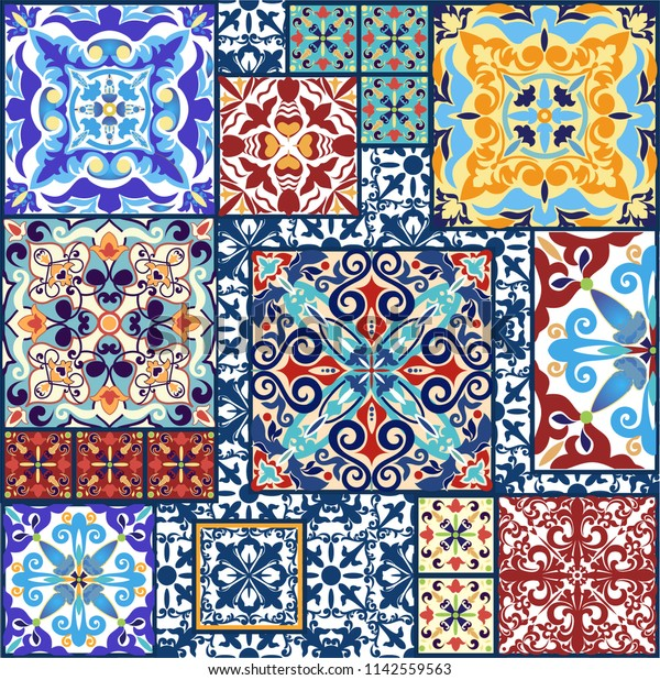 Vintage Tiles Decorative Design Ceramic Floor Stock Vector