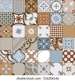 Vintage tiles intricate details for a decorative look. Seamless vector. Ceramic paint floor, ornament Collection Patchwork Pattern Colorful Painted tin Illustration background Pattern. Stamford