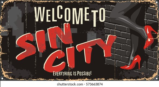Vintage tin city sign. Underground poster. Old city mark. Welcome to. Retro souvenirs or postcard templates on rust background.