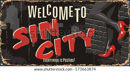 Vintage tin city sign