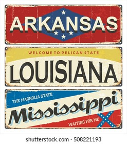 Vintage State Postcard Stock Vectors, Images & Vector Art