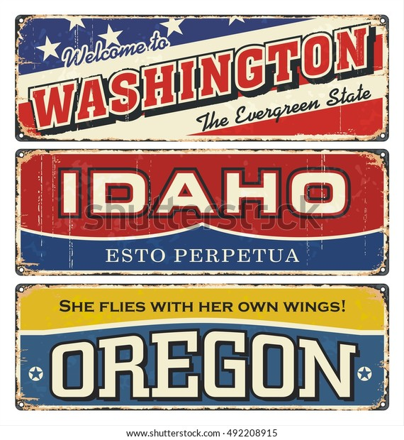 Vintage Tin Sign Collection America State Stock Vector
