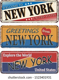 Vintage tin sign collection with US citY. New York. templates on rust background.