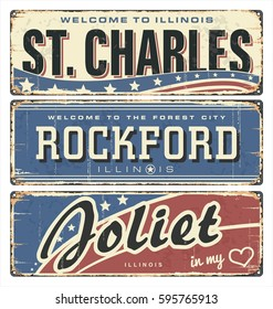 Vintage tin sign collection with US cities. St. Charles. Rockford. Joliet. Illinois. Retro souvenirs or old postcard templates on rust background.