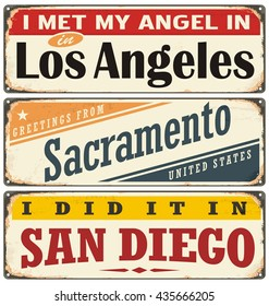 Vintage tin sign collection with USA city names. Retro souvenir sign or postcard templates  on old metal background. Traveling theme.