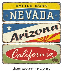 Vintage tin sign collection with USA state. Nevada. Arizona. California. Retro souvenirs or postcard templates on rust background.