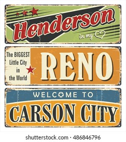 Vintage tin sign collection with USA cities. Henderson. Reno. Carson City. California. Retro souvenirs or postcard templates on rust background.