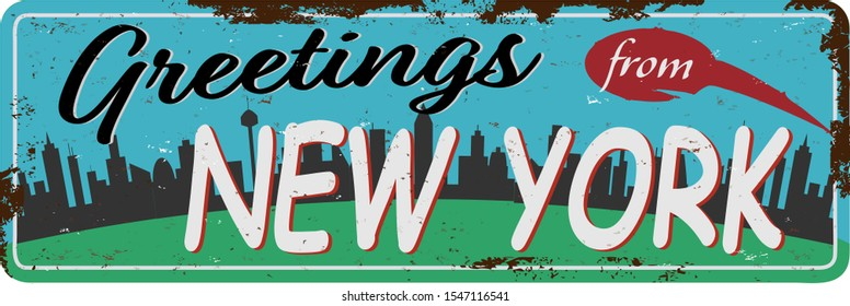 Vintage tin sign Greetings from New York. Retro souvenirs or postcard templates on rust background.