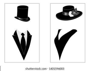 Vintage toilet wc sign with lady and gentleman head in evening hats and clothes vector illustration