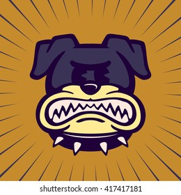 Vintage Toons: retro cartoon angry bulldog character, snarling rabid dog grinding his teeth