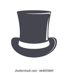 Vintage top hat. Cylinder hat illustration. Top hat vector icon