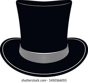 Vintage top hat. Elegent hat. Male head cap. Gentelmen style.Tophat. Old fashion clothes. Vector illustration. Gentleman hat. Man retro Costume. Mister.