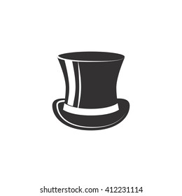 Vintage top hat. Male head cap. old fashion clothes. Elegent hat. Gentelmen style.Tophat. Vector illustration. Gentleman hat. Man retro Costume. Mister.