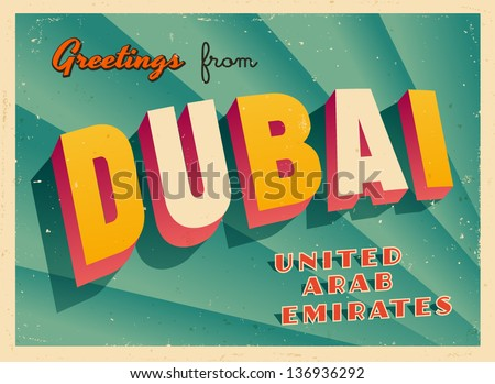 Vintage touristic greeting card dubai united stock vector royalty vintage touristic greeting card dubai united arab emirates vector eps10 grunge effects m4hsunfo