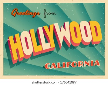 Vintage Touristic Greeting Card - Hollywood, California - Vector EPS10. Grunge effects can be easily removed for a brand new, clean sign.