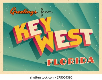 Vintage Touristic Greeting Card - Key West, Florida - Vector EPS10. Grunge effects can be easily removed for a brand new, clean sign.