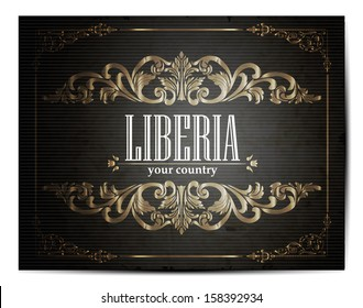 Vintage Touristic Greeting Card -Liberya- Vector EPS10.