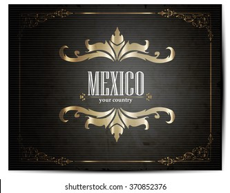 Vintage Touristic Greeting Card -Mexico- Vector