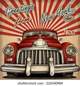 Vintage touristic greeting card with retro car.New York.