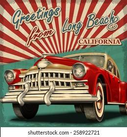 Vintage touristic greeting card with retro car.long Beach. California.