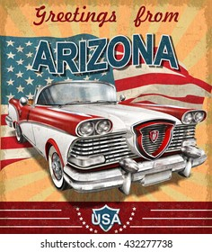 Vintage touristic greeting card with retro car.Arizona.