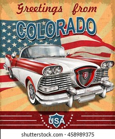 Vintage touristic greeting card with retro car.Colorado.
