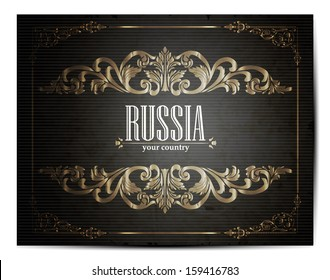Vintage Touristic Greeting Card -Russia - Vector EPS10.