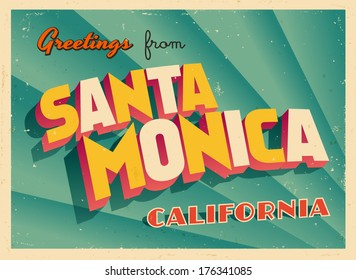 Vintage Touristic Greeting Card -  Santa Monica, California - Vector EPS10. Grunge effects can be easily removed for a brand new, clean sign.