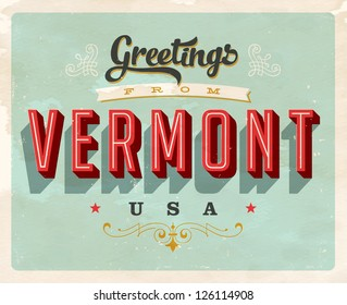 Vintage Touristic Greeting Card - Vector EPS10. Grunge effects can be easily removed for a brand new, clean sign