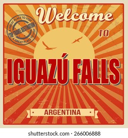Vintage Touristic Welcome Card - Iguazu Falls, Argentina, vector illustration