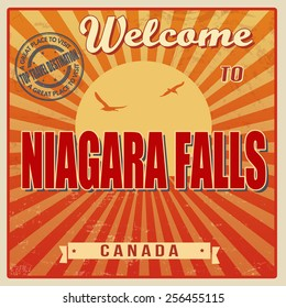 Vintage Touristic Welcome Card - Niagara Falls, Canada vector illustration