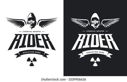 Vintage toxic rider in gas mask black and white isolated vector logo. Premium quality radiation zone logotype t-shirt emblem illustration. Street wear superior warrior hunter retro tee print design.