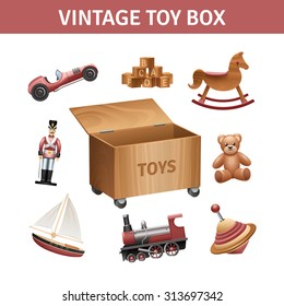 Vintage toy box set with rocking-horse train and ship realistic isolated vector illustration