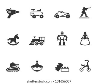 Vintage toy icons in single color