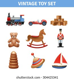 Vintage toy realistic icons set with teddy bear ship and soldier isolated vector illustration