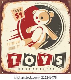 Vintage toy store metal sign design concept. Retro poster template with teddy bear.
