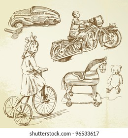 vintage toys - hand drawn set